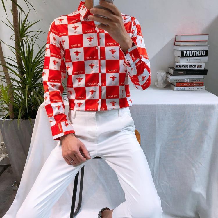 New Design Fashion Mens Long Sleeve Shirts Korean Style Nightclub Men's Black-white Plaid Dress Printed Business Casual Shirts