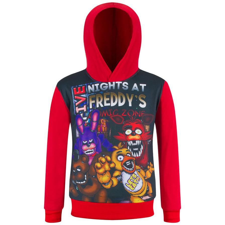 Unisex Five Nights at Freddys Stampa 3D Moda Felpe Sportive con Cappuccio Allentato Comoda Pullover con Cappuccio per Uomo e Donne