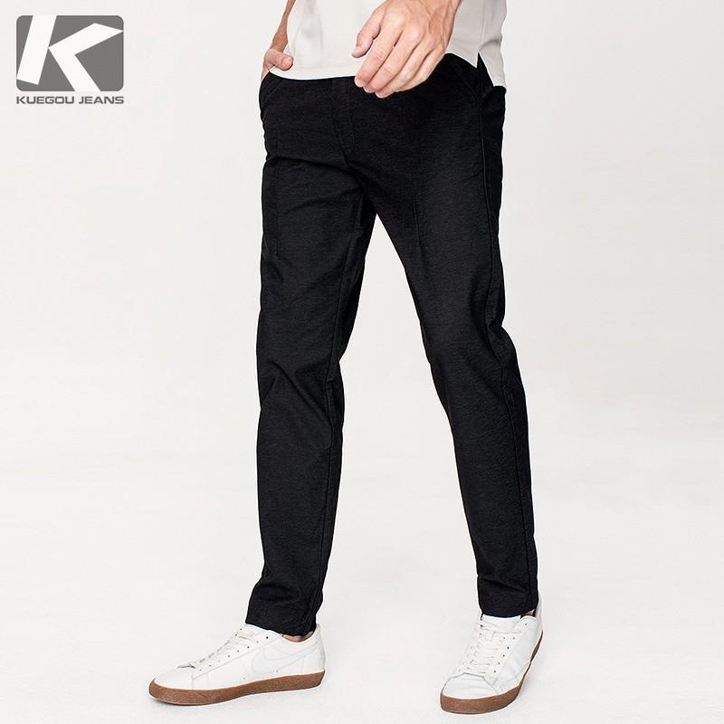 Autunno Pantaloni casual da uomo in cotone nero tinta unita tasca per uomo Moda Slim Fit 2018 Nuovo maschio indossare pantaloni lunghi dritti 71331