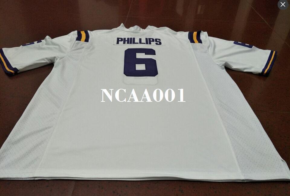 Männer # 6 lila weiße Jacob Phillips LSU Tiger Alumni College Jersey oder Gewohnheit irgendein Name oder Zahl Jersey
