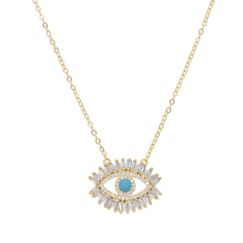 regalo plateado collar mal de ojo turco suerte niña oro de 18 quilates Baguette cúbica de alta calidad geomstone joyería de mal de ojo de circonio turquesa