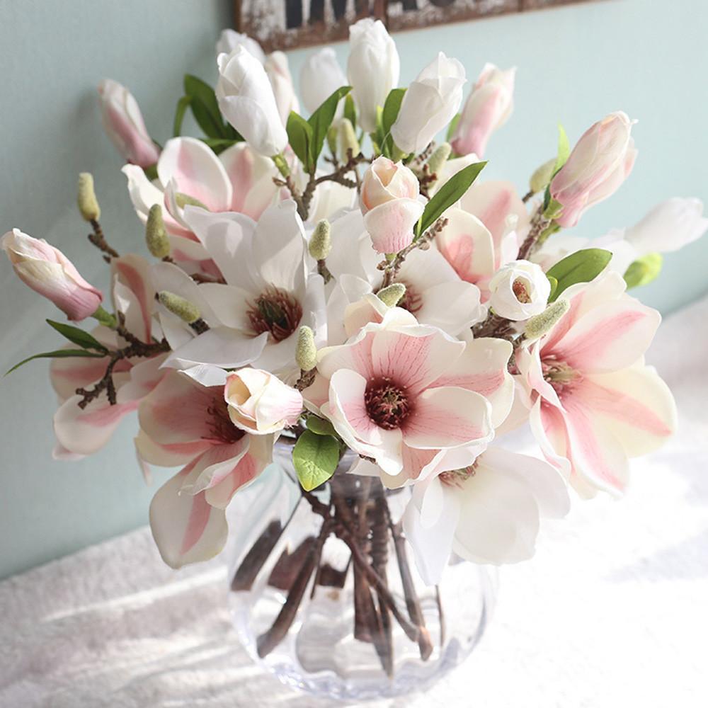 Tessuti 1Branch bella del fiore artificiale Stame non tessuto falso Magnolia Fiori Handmade del partito fai da te casa decorazione di cerimonia nuziale decorazione