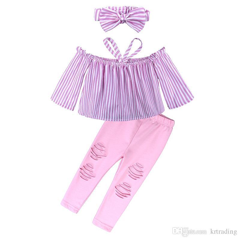 Meninas fora da camisa do ombro roupas 3 pc set arco headband + rosa camisa listrada + calças esfarrapadas 2018 crianças moda verão halterneck roupas