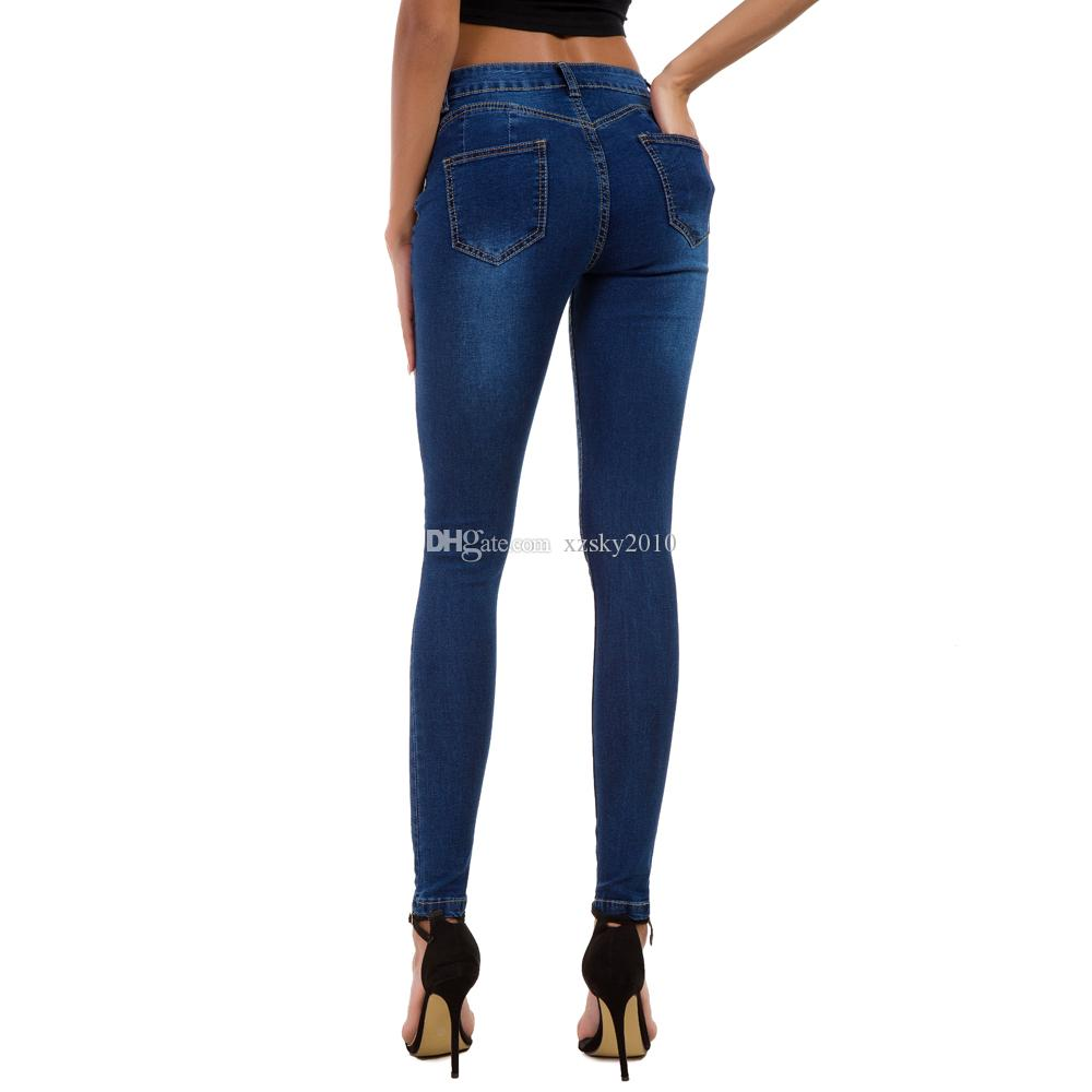JEANS Donna Pantaloni ricamo paillettes Skinny Jeans Tubo Pantaloni Hüfthose mozzaar 27