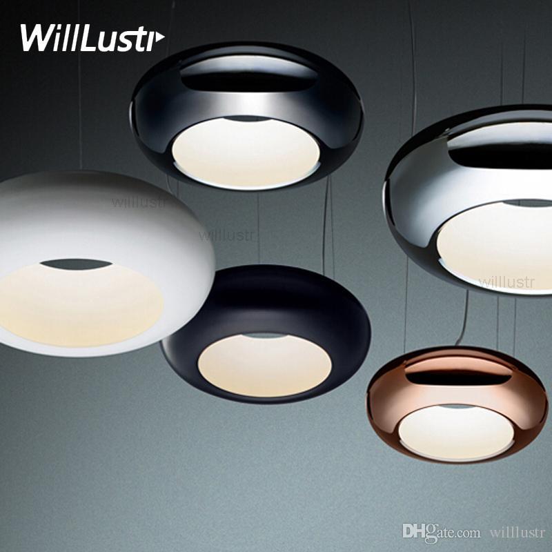 noovo design aura pendant lamp LED single circle suspension light chrome copper black white hanging lighting hotel restaurant dinning room