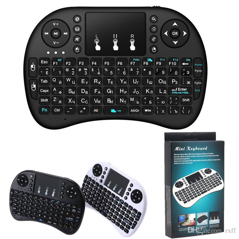 Mini tastiera wireless Rii i8 2.4G Telecomando inglese tastiera mouse tattile per Smart TV Box Android Tablet PC da DHL