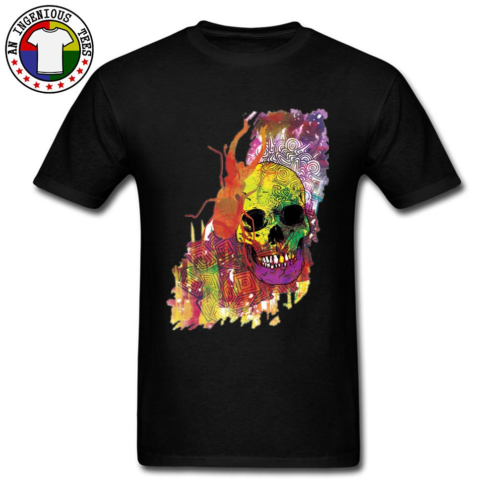 Psychedelic Skull Floupinou Watercolor Painting Art T Shirts Summer Autumn 100% Cotton Fabric O Neck Men Tees 3D Print Image