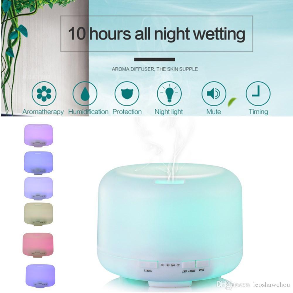 500 ml 7 leds humidificador ultrasónico aire aroma aceite esencial aceite difusor aromaterapia atomizador LED noche luz de aire purificador niebla sincronización 2 nivel