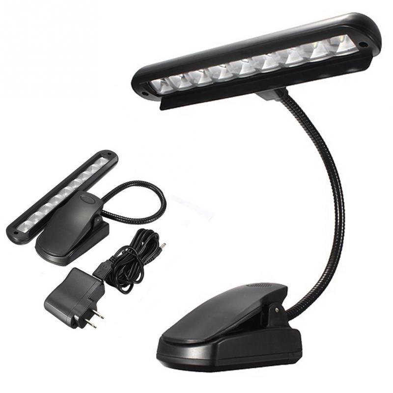 9 LED 클립에 음악 스탠드 조명 휴대용 유연한 구즈넥 눈 보호 책을 읽고 라이트 USB 침대 책상 램프