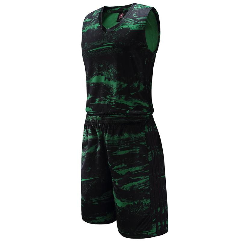 New Style Men's Basketball Jersey Suits Camouflage Printed Design Sleeveless Shirts Shorts Professional Basketball Sets 1612
