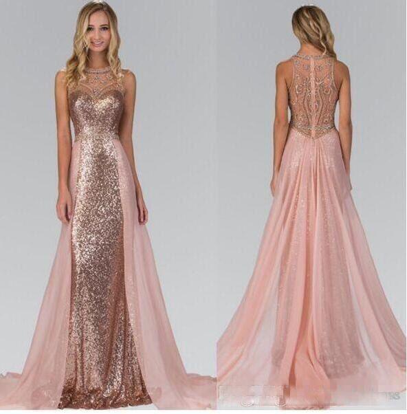 Kristall Perlen Rose Gold Pailletten Lange Brautjungfer Kleider Pailletten Chiffon Hochzeit Gastkleider Haustiergüter Gowns Custom Made