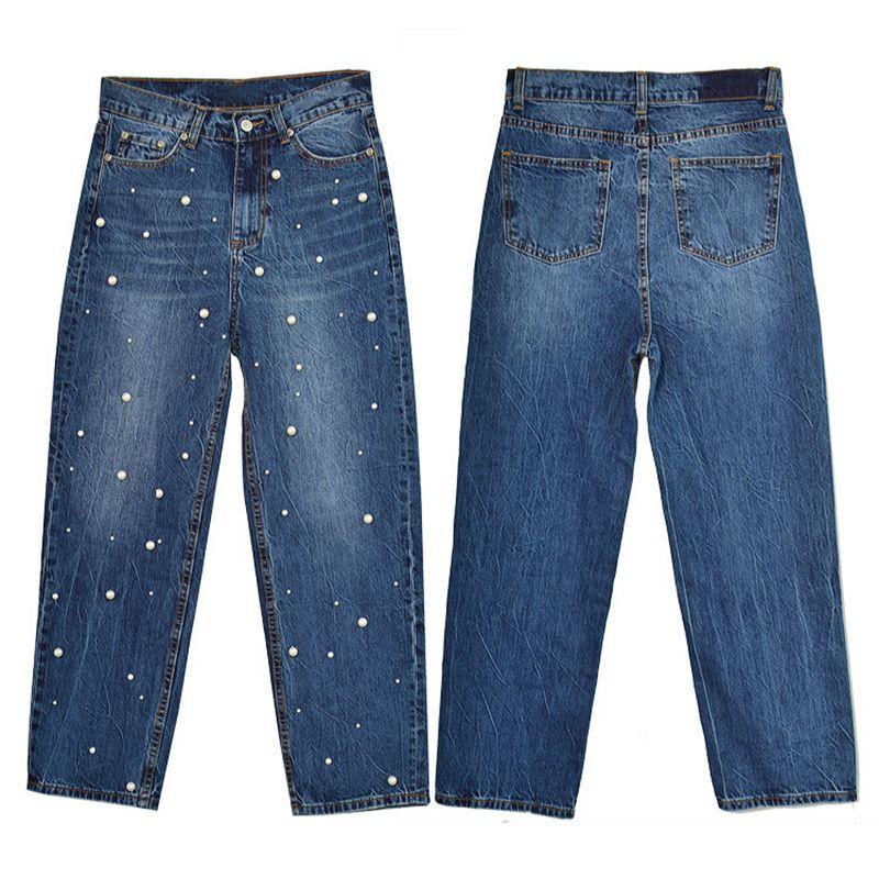 Kadınlar Gevşek Boyfriends Geniş Bacak Pantolon Yüksek Bel Moda İnci Tırnak Boncuk Denim Jeans Kadınlar Kişilik Vintage Retro Pantolon