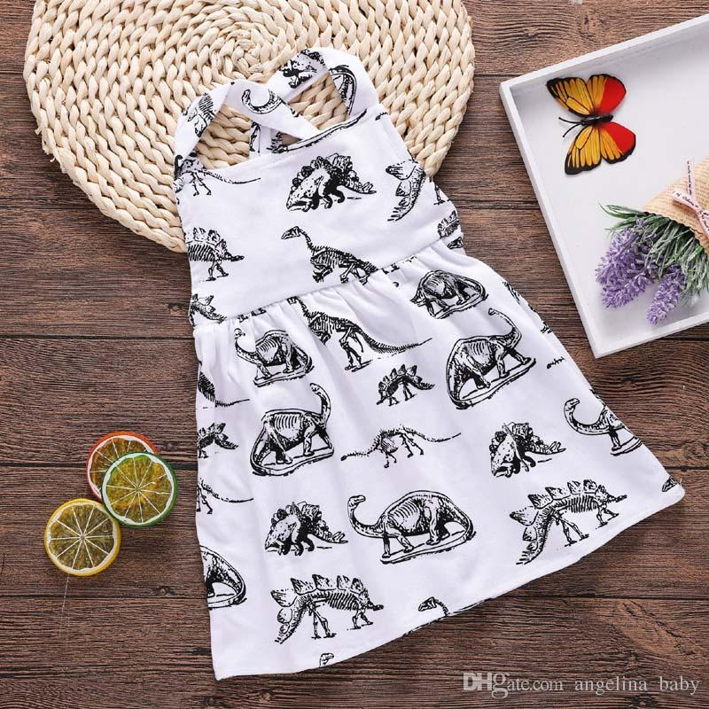 2018 New Baby Girl Dresses Animal Dinossauro Impresso Halter Algodão Cruz Vestido de Verão Crianças Roupas 6 M-3 T Frete Grátis Z11