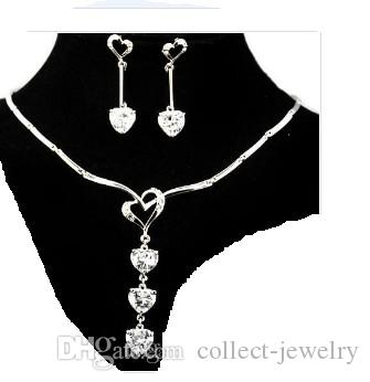 white crystal heart drop wedding bridal jewelry set necklace earings (mi frfrhrtyrhtng)