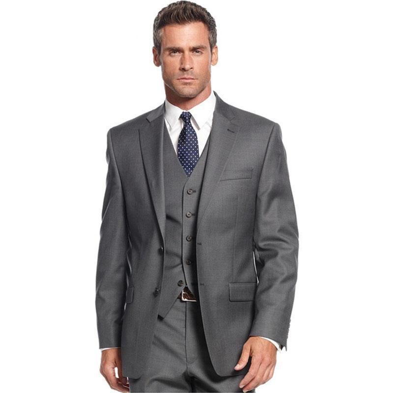 Classic Style Grey Men Suits For Business Men Office Wear Tuxedos Groomsmen Wedding Suits ( jacket+Pants+vest+tie)