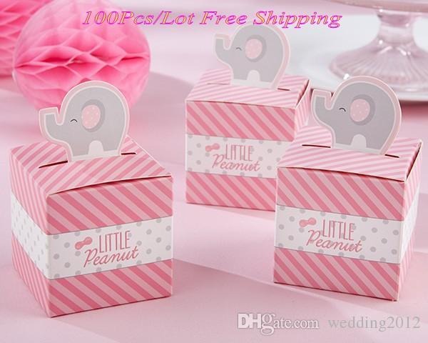 (100pcs / lot) boîte cadeau bébé de Little Peanut Elephant mariage boîte de faveur pour l'anniversaire bébé Party Favor cadeau décoration boîte de bonbons