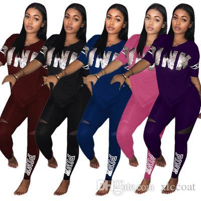 2018 New Fashion Letter 2 Piece Set Women Short Sleeve V-Neck PINK Print T-shirt Tops+Patchwork Skinny Pencil Pants Casual Outfit Sportwear