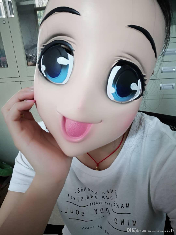 Feminino Doce Menina Meia Cabeça Kigurumi Máscara Com Olhos BJD Cosplay Japonês Anime Papel Máscara Lolita