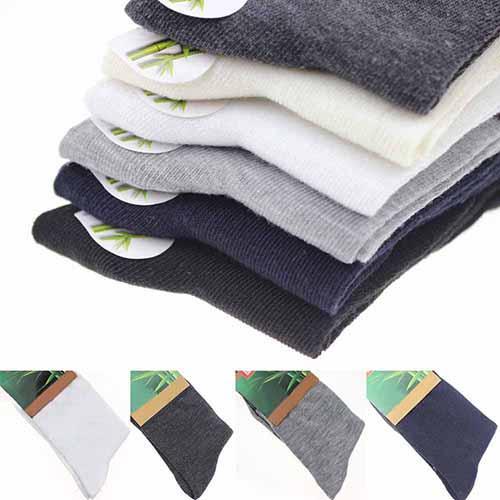 Cadeau d'automne occasionnel de chaussettes de couleur unie respirable doux d'hommes de couleur solide d'automne 5pairs