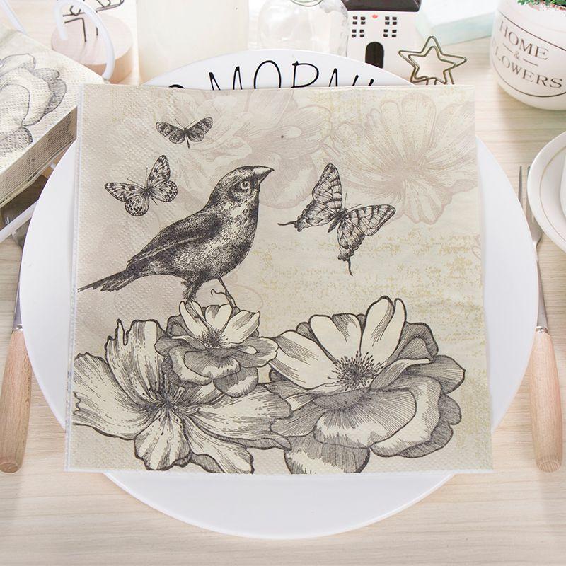 2019 2*20 Vintage Decoupage Paper Napkin Tissue Tea Pot Cup Flowers Cake  Bird White Black Wedding Party Christames Towel Guardanapo Serviettes From