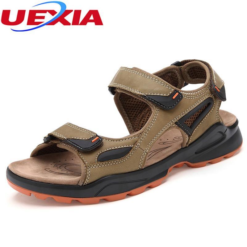 UEXIA Yaz Sandalet Erkekler Ayakkabı Yumuşak Taban Moda Moda Rahat Konfor Açık İngiliz Tarzı KancaLoop Plaj Büyük Boy Sandalias