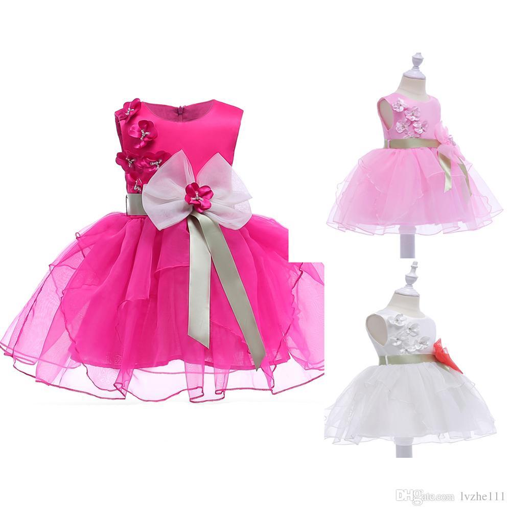 새로운 패션 아이 키즈 여자 민소매 꽃 보우 공주 웨딩 신부 들러리 파티 드레스 3 색 6 사이즈