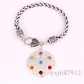 Buddhist Bracelet With Flower Of Life With Crystal Seven Chakra Symbol Charm Religious Pendant Lobster-Claw-Clasps Jewelry