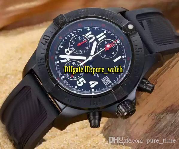 미군 울프 다이버 프로 A1338111 블랙 다이얼 석영 크로노 그래프 시계 남성 PVD 블랙 케이스 고무 스트랩 신사 스포츠 시계