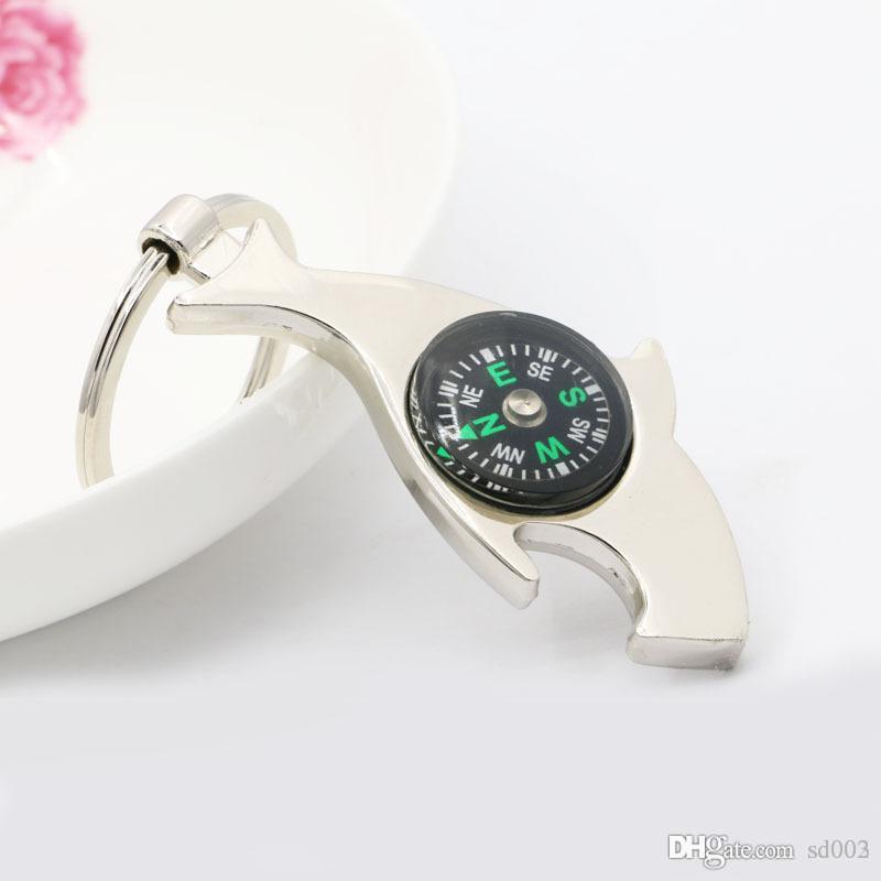 Metallo Birra attrezzo della cucina Keychain creativo Dolphin con la bussola apribottiglie pratico della borsa dell'inarcamento dell'anello chiave 1 8XJ ZZ