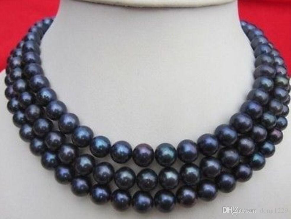 """Collier de perles de culture Akoya noires naturelles 9-10MM, 48 """""""