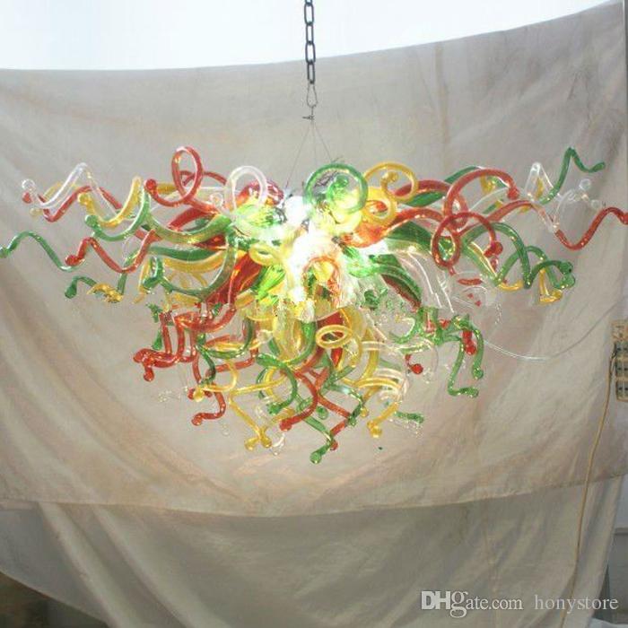 Bonito do estilo do vidro de Murano Art personalizado Light Chandelier Com vermelha e verde em uma armação de metal frete grátis