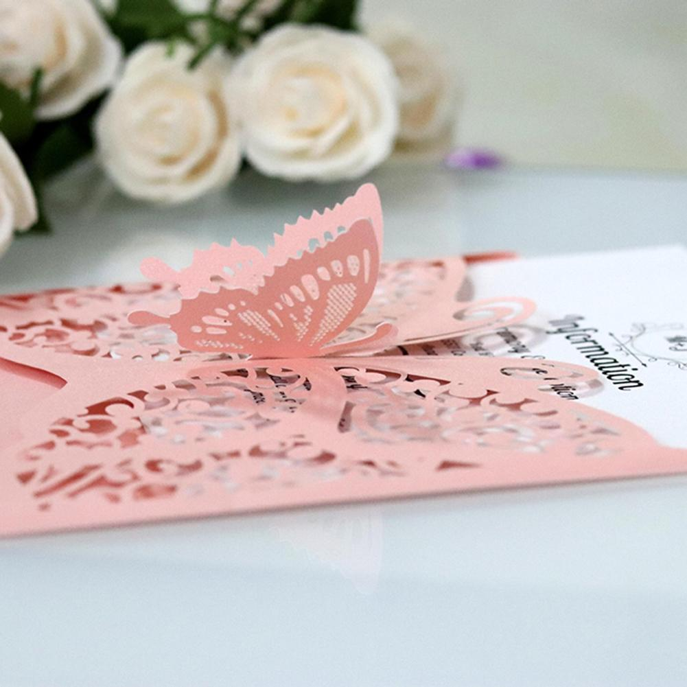10Pcs Hollow Butterfly Wedding Invitations Baby Shower Invitation Card for Wedding Postcard Birthday Party Supplies S3