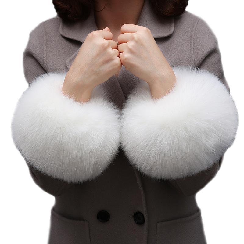 Nouveautés Femmes Une Paire Hiver Chaud Poilu Manchette Poil Faux Fourrure De Raton Laveur Femme Vêtements Accessoires Manchette En Fausse Fourrure