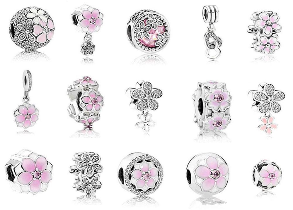 Passend für 925 Sterlingsilber-Armband-Rosa-Emaille-Magnolia-Kristall baumeln Korn-Charme für europäische Schlange-Charme-Kette Fashion KKA1967