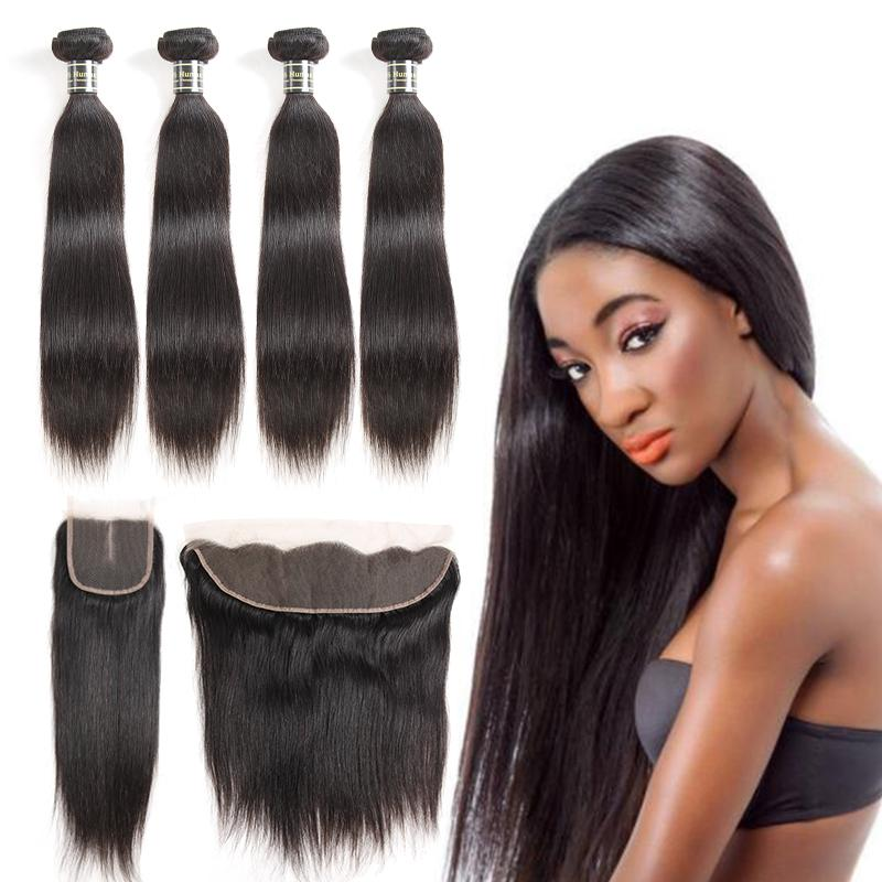 Onlyou Hair Straight Peruvian Human Hair Bundles with Closure Kinky Curly Deep Body Wave Hair Extensions Top Lace Frontal and Bundles Black