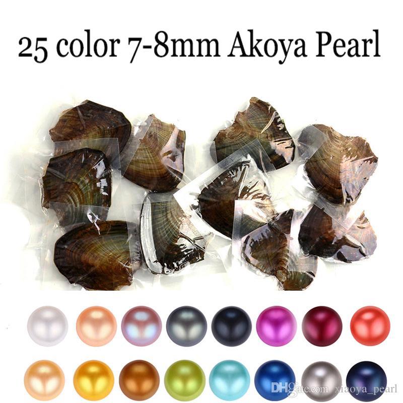Trend Hediye Sürpriz Packaging Toptan 2018 yuvarlak Oyster Pearl 7-8mm 25 Renk tatlısu Doğal inci Hediye DIY Takı süslemeler Vakum