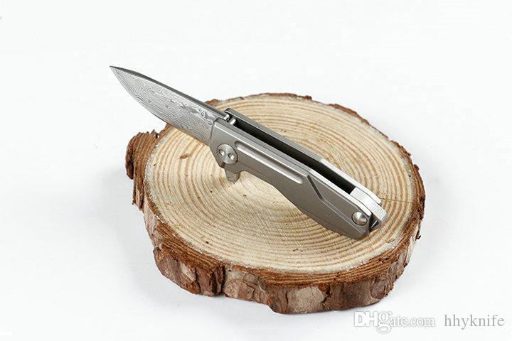 Promotion Mini Small EDC Pocket Knife Damascus Steel Blade TC4 Titanium Alloy Handle Necklace Chain Knife Gift Knives