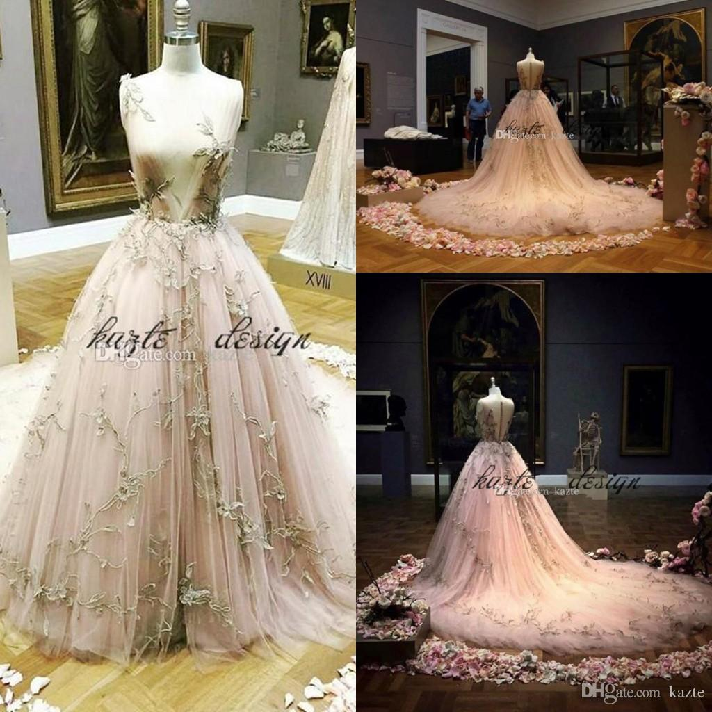 2018 vestido de baile de conto de fadas noite pageant vestidos decote decote apliques tule blush champagne princesa prom pageant vestidos