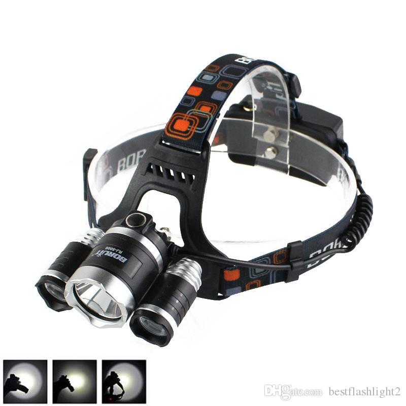 BORUiT 3X XM-L L2 LED Fishing Head Torch Headlamp Work Lamp Tactical Flashlight