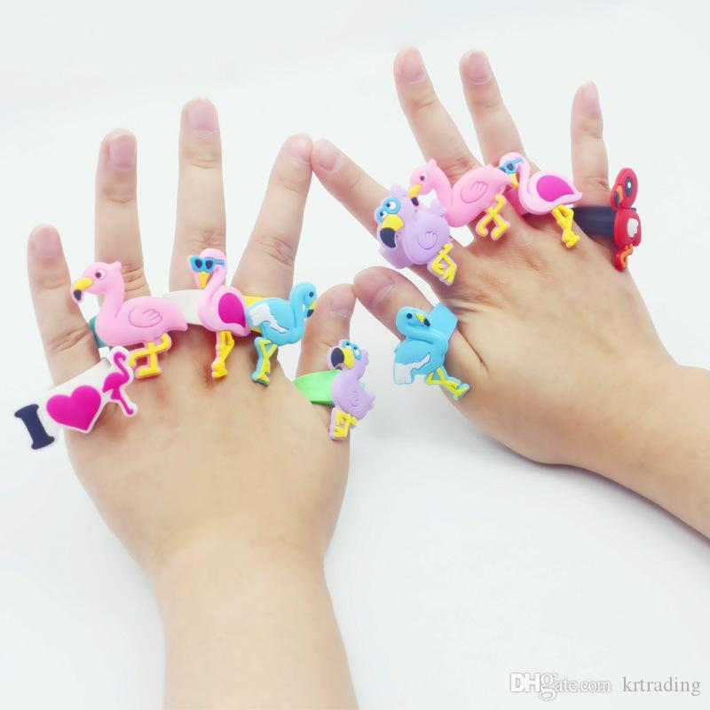 6 styles Flamingo Rings kids soft PVC toys cartoon animals rings 2 sizes inner diameter 1.6cm-2cm sales promotion Children gifts party Xmas