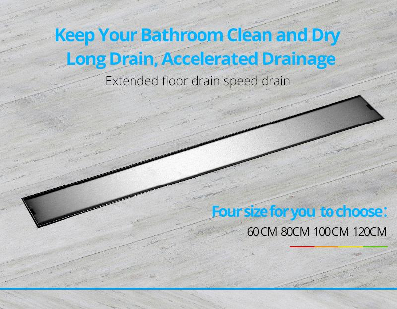 hm Odor-resistant Floor Drain Cover 60 80 100 120cm Rectangle SUS304 Stainless Steel Shower Grate Invisible Long Floor Drain (1)