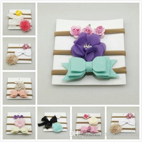 7 Styles Baby 100-day nylon high-elastic hair band headband Children's cute flower bowknot hair bands accessory set 3pcs/card
