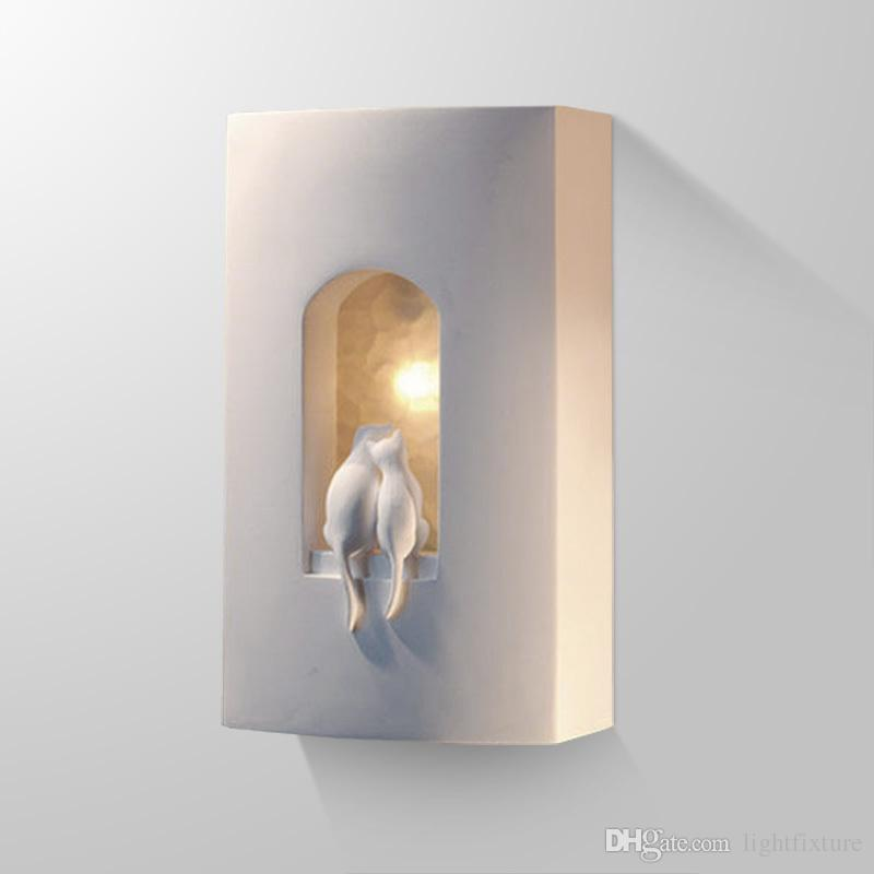 Plaster Cats Wall Light Fixture For Children Bedroom Bedside Light Aisle Stairs Wall Sconce Modern Engraved Cats Wall Lamps