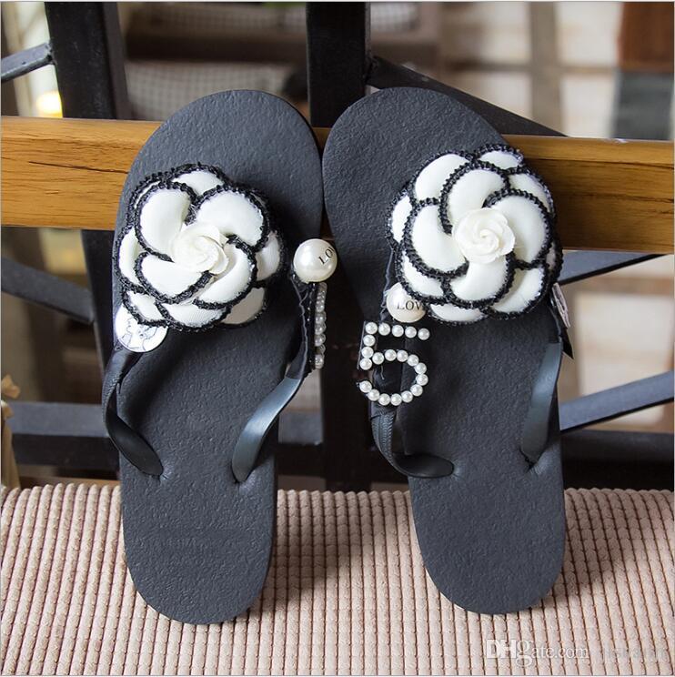 C Home No 5 Designer Slippers for Women Summer Beach Flip Flops Flower Number 5 C Family Women's Slipper