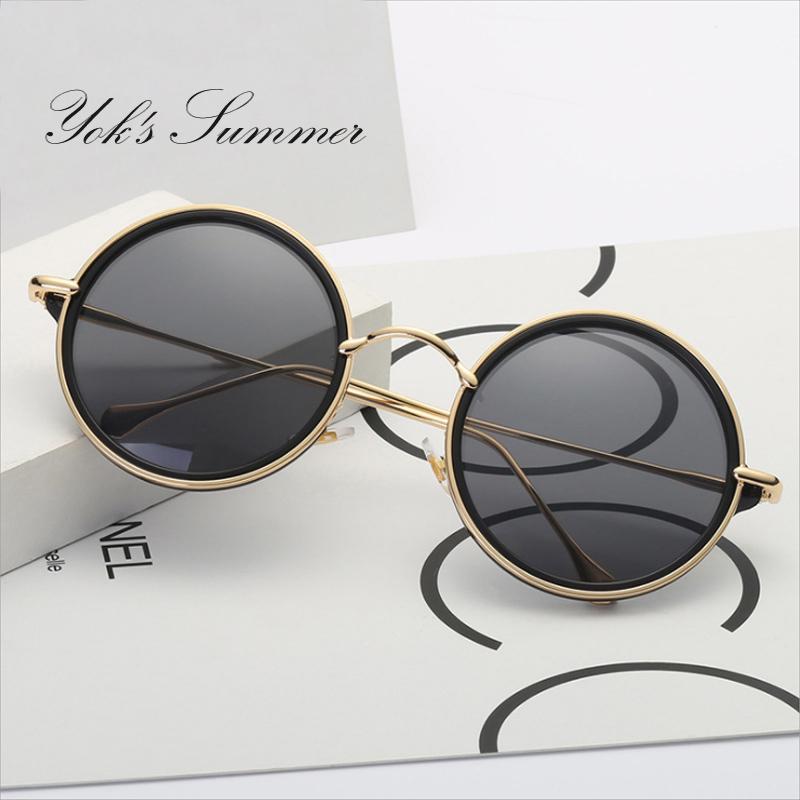 Yok's Round Coating Sunglasses Men Brand Gold Thin Metal Frame Steampunk Sun Glasses Women Black Mirror Round Lens Oculos WL008