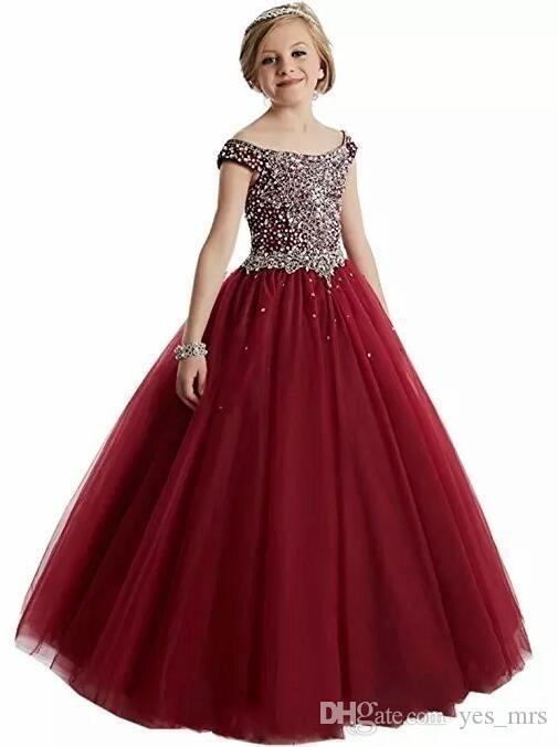 2020 Nova Borgonha Vermelha Princesa Meninas Pageant Vestidos Colher Pescoço Cristal Beads Bola Vestido Tule Crianças Partido Vestidos De Aniversário Flor Meninas Vestidos