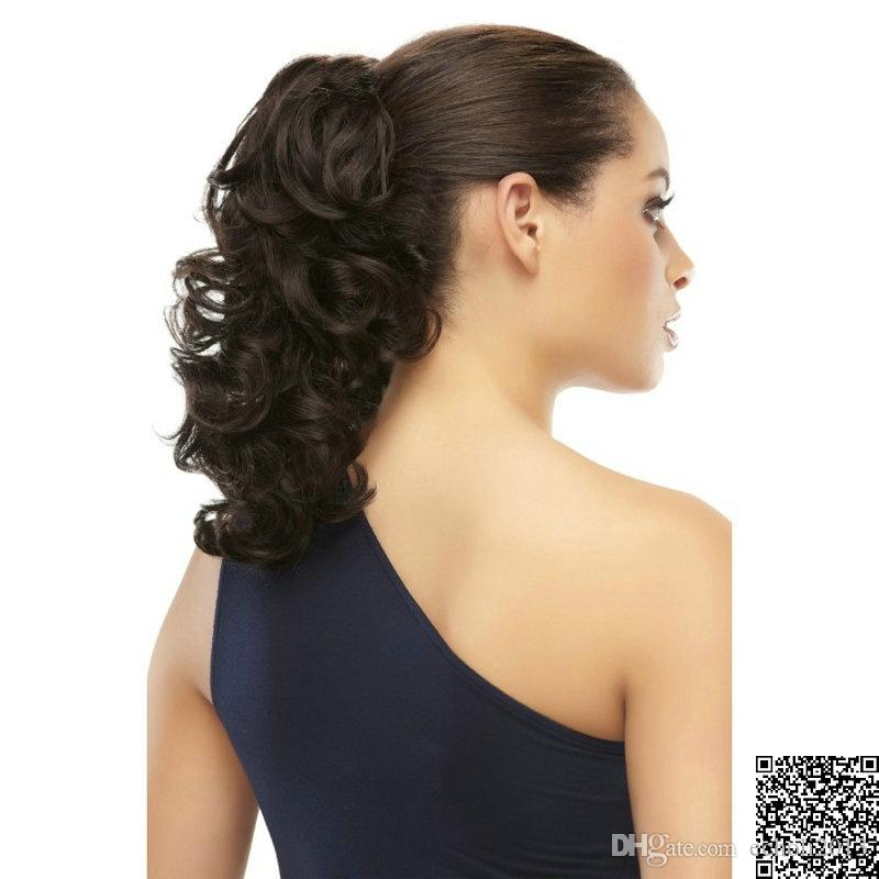 Eco onda del corpo Coda di cavallo Estensione dei capelli reale dei capelli umani coulisse Coda di cavallo parrucchino 100g-140g nero naturale 1b # 120g