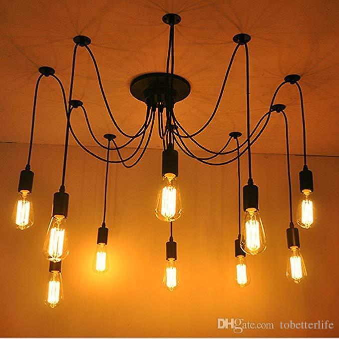 Spider Pendant Light Vintage Edison Multiple Ajustable DIY Ceiling Lamp Modern Chandelier for Chic Industrial Dining