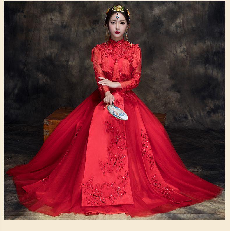 Abiti Da Sposa Cinesi.Acquista Abiti Da Sposa Stile Asiatico Sposa Cinese Elegante Xiu