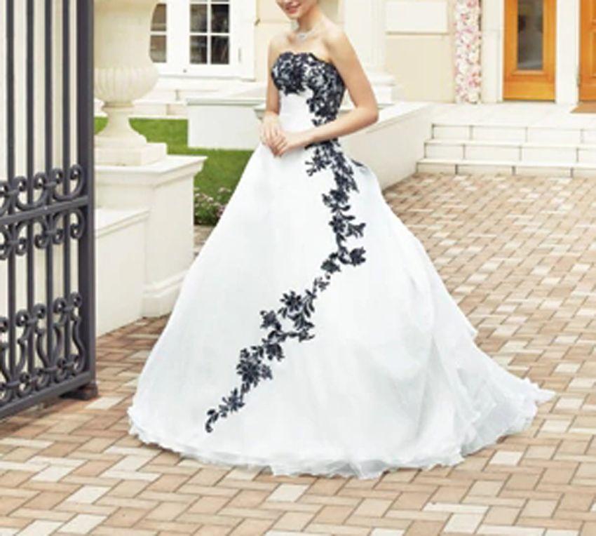 Acheter Robe De Mariée Noire Et Blanche Avec